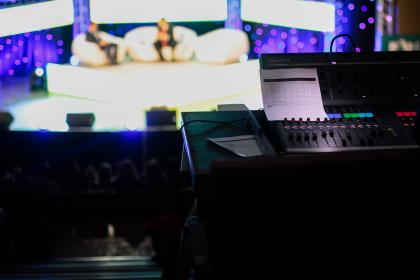 sound, mixer, electronic, technology, audio, equipment, panel, volume, music, sliding, button, stage, theater, bokeh, blur