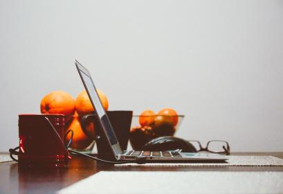 laptop, computer, technology, business, work, table, office, oranges, clementines