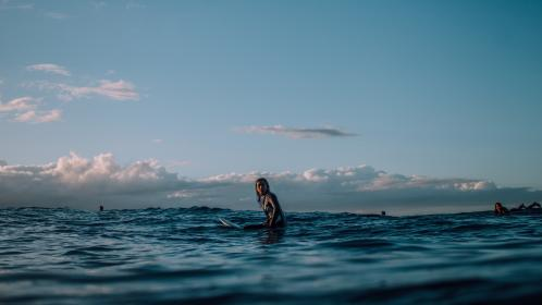 nature, landscape, ocean, sea, water, surf, people, woman, sport, hobby, waves, clouds, sky, blue