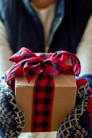 giving,  gift,  hands,  holiday,  christmas,  celebration,  close up,  person,  box,  bow,  ribbon,  cozy,  seasonal,  present,  winter