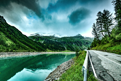 lake, water, mountains, landscape, nature, blue, sky, clouds, hdr, hd, wallpaper, road, outdoors, trees