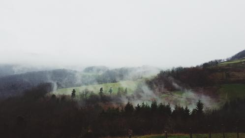 nature, landscape, green, mountain, fog, trees, aerial, top