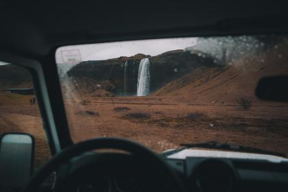 car, travel, trip, outdoor, adventure, mountain, highland, waterfall, landscape, nature