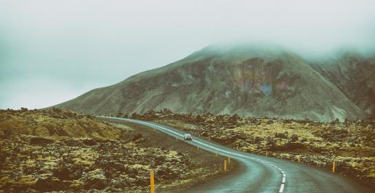 mountain, road, street, car, travel, trip, vehicle, autumn, flowers, yellow, rocks, sky