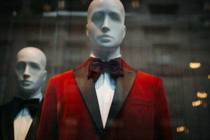 black, red, suit, tie, clothing, mannequin, shopping, mall, store