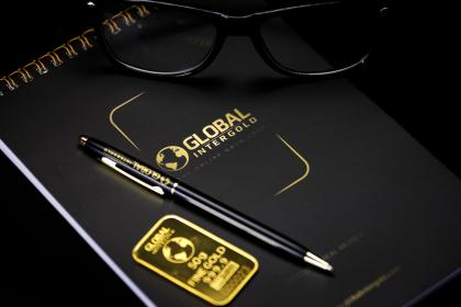 notebook, black, pen, eyeglasses, gold, sticker, logo, office, business