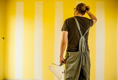 guy, man, painting, brush, roller, overalls, construction, renovations, repair, house, home, walls, people