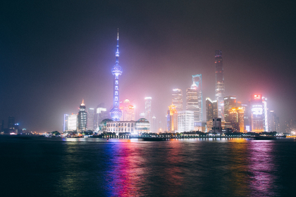 shanghai,  skyline,  night,  city,  buildings,  skyscrapers,  water,  lights,  architecture,  business,  fog,  ambient,  tower,  travel,  cityscape,  modern,  downtown
