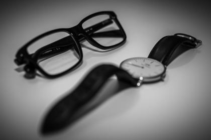 eyeglasses, watch, fashion, accessories, objects, black and white, frames