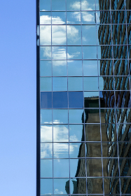 skyscaper,   city,   building,   tall,   downtown,   architecture,   modern,   urban,   glass,   exterior,   reflection,   structure,   business,  office,  sky,  clouds