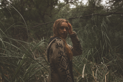 woman,   fashion,   woods,   blonde,   hair,   forest,   girl,   grass,   outdoors,   person,   people,   trees