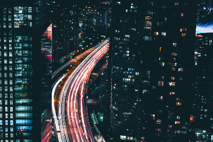 city,   traffic,   night,   lights,   building,   skyscraper,  cars,  transport,  lights,  window,  highway,  road