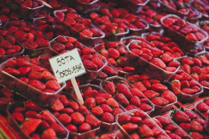 food, fruits, strawberries, containers, stack, pile, harvest, grocery, market, sale, red