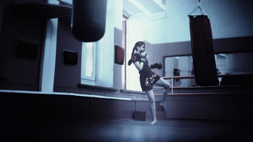 girl, kickboxing, mma, muay thai, gym, punching bag, fitness, exercise, working out, boxing gloves, people, strength, training, athlete