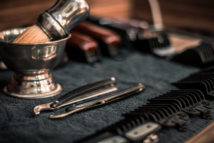barbershop,  brush,  razor,  barber,  shop,  cream,  foam,  dish,  steel,  mat,  cloth,  towel,  tools,  utensils
