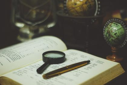 book, reading, learning, study, education, pen, magnifying glass, globe, atlas, maps, navigation, travel