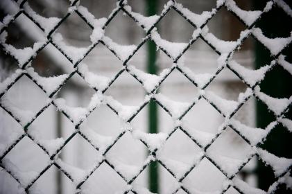 fence, steel, snow, winter, ice, cold, white, glass, screen