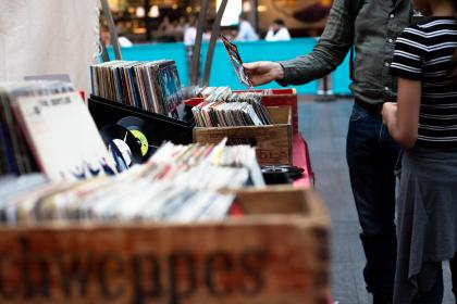 records, albums, vinyl, music, crates, shopping, people