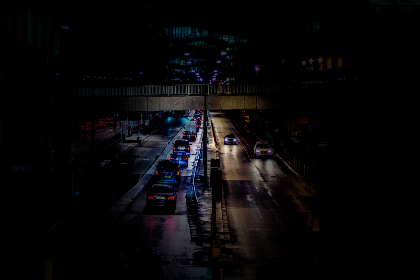 cars,  road,  london,  night,  colour divide, traffic, transport, motorway, highway, lights, bridge, overpass
