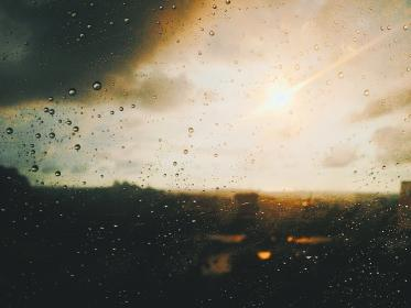 window, glass, wet, water, raindrops, sunlight, sunrise, sunset
