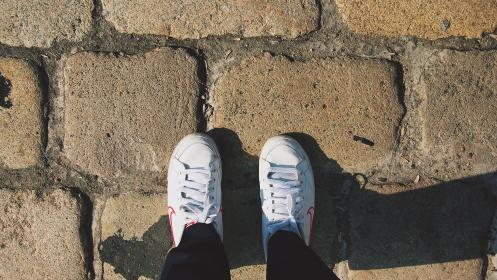 shoes, sneakers, nike, white, fashion, cobblestone, ground