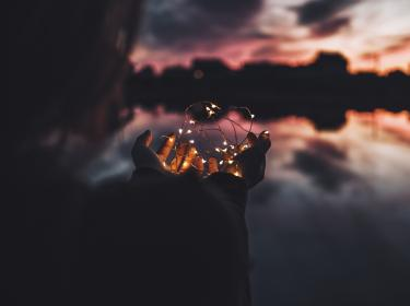 dark, cloud, sky, reflection, people, woman, hand, palm, string, lights