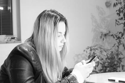 people, woman, blonde, black and white, monochrome, text, cellphone, technology, phone