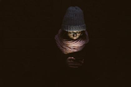 people, woman, cold, weather, jacket, bonnet, dark, night, scarf, cellphone, light