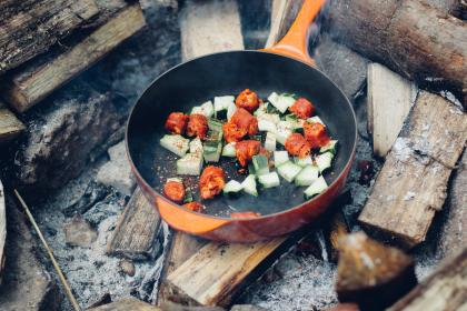pan, food, cooking, wood, logs, camping, outdoors, nature, fire, vegetables, sausage