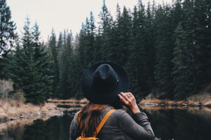 girl, woman, people, hat, fashion, travel, adventure, outdoors, pine, trees, forest, woods, river, water, hiking, trekking, journey, wanderlust