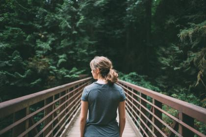 girl, woman, hiking, trekking, outdoors, nature, bridge, trees, forest, woods, people
