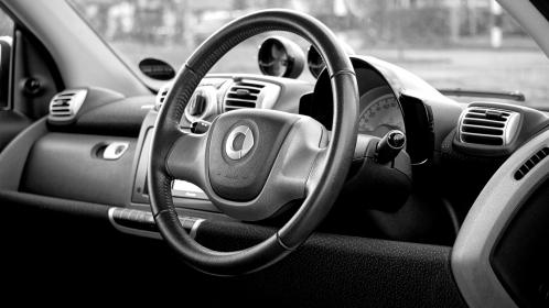 car, interior, black and white, monochrome, grayscale, steering, wheel