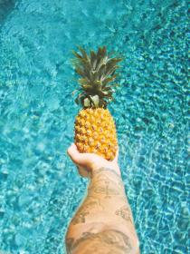 water, liquid, pool, swimming, vacation, rest, hands, tattoo, art, fruit, pineapple, outdoor