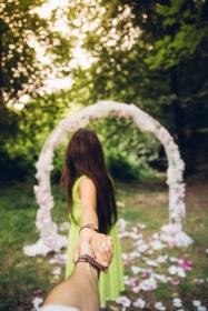 people, girl, woman, holding hands, watch, ring, blur, bokeh, outdoor, green, trees, plant