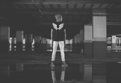 building, structure, basement, people, guy, man, black and white, alone, water, reflection