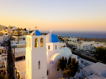 Santorini,  church,  amazing ,  view,   city,  summer,  sunset,  colorful, Greece