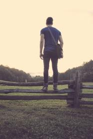 guy, fence, rural, grass, countryside, nature, fashion, bag, leather, people, lifestyle, sky