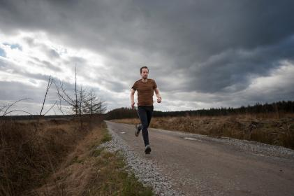 people, man, exercise, jogging, sport, run, road, green, grass, trees, clouds, sky, healthy