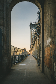 city,  walking,  street,  path,  arch,  urban,  fence,  bridge,  life,  outdoor,  day,  pathway,  walkway