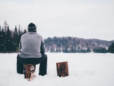 people, man, guy, sitting, alone, outdoor, travel, trees, plant, nature, mountain, landscape, wood, snow, winter