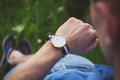 guy, man, male, people, hand, look, technology, watch, wrist, time, grass, bokeh