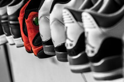 shoes, footwear, display, collection, blur