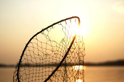net, fishing, steel, sun, water, sea, nature, bokeh, blur, sunset, hole, broken, damage
