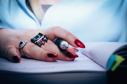 notebook, pen, people, girl, hand, ring, nail, art, polish, red, write, school, study