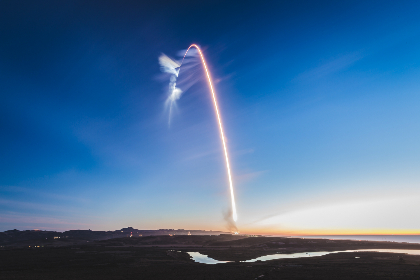 light trail,  rocket,  landscape,  flight,  liftoff,  flying,  sky,  outdoors,  outside,  dusk,  blue hour