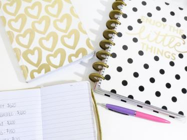 notebook, notes, pens, table, white, heart, letters