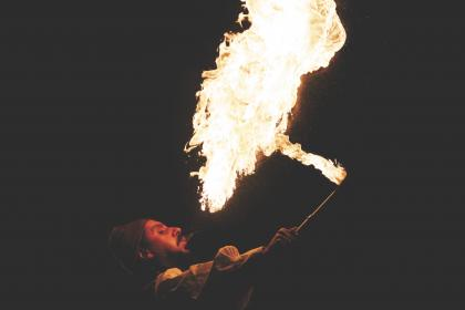 fire, flames, fire breather, guy, man, people, entertainment, show, event, party, celebration, dark, night