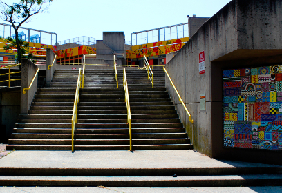 city,  stairs,  street,  rails,  art,  outside,  urban,  concrete,  design,  architecture,  wall,  steps