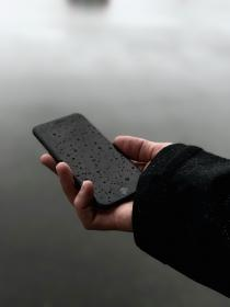 mobile, phone, gadget, communication, wet, raindrops, hand