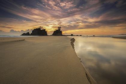 ocean, sea, sand, nature, waves, view, adventure, travel, trip, rock, formation, sky, clouds